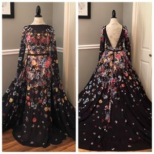 JOVANI BLACK FLORAL MESH FULL TRAIN BALLGOWN